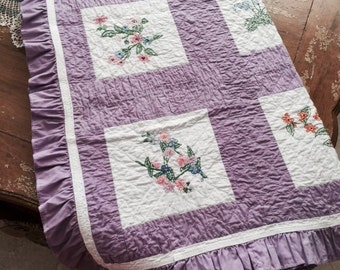 Vintage Handstitched and Embroidered Quilt Throw