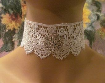 White Lace Wedding Choker with a Rhinestone Pendant