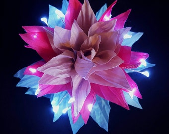 Blue, Light Pink, Hot Pink, Small LED Fairy Glow Hair Flower Clip