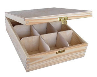 Plain Wood Wooden Tea Bag Box 9 compartments   Storage Box Decoupage Box Jewellery Box