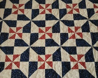 Red, White and Blue Pinwheel Quilt