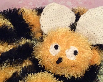 Funny bee scarf animal scarf handmade scarf funny scarves smiling scarf yellow and black scarf