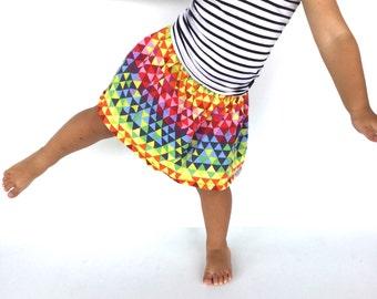 Handmade Colourful girls skirt, geometric print, beautiful and bold, gathered elastic waist, rainbow geometric print