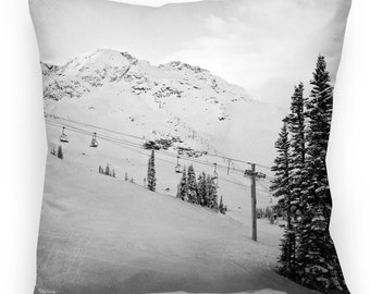 """Skiing Pillow - Mountain Pillow - Peak View Red Chair Throw Pillow Cover 22x22"""""""
