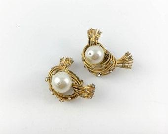 Chanel Glass Pearl Bird Nest Clip-on Earrings, by Robert Goossens - 1950s