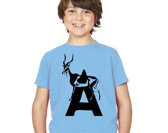 Kids Alphabet T Shirt / Letter A T-Shirt Childrens Boys Girls Antelope Tee in Pink Grey Blue Yellow Black / Age: 3-4, 5-6, 7-8, 9-11, 12-13