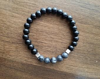 elastic bracelet for man, stone bracelet, onyx and black labradorite