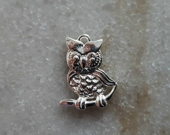 Sterling Silver (925) - 16mm Perched Owl Charm