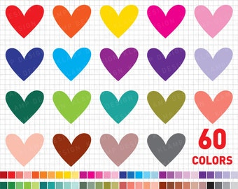 "Heart Clipart: ""Digital Heart Clipart"" Rainbow Heart Clipart, Heart Labels, Colourful Hearts Clip Art, Love Clipart, Valentine Clipart"