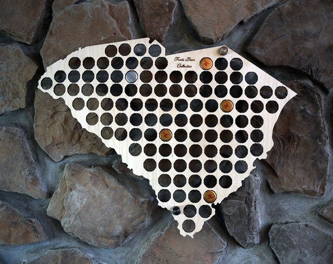 Personalized South Carolina Beer Cap Map Perfect for Pubs Man Caves and Groomsman Gifts