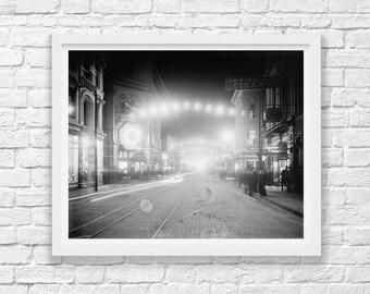 Charleston South Carolina - Night - Circa 1900 - Charleston at Night - Black and White Photography - Street Scene - Fine Art Photograph