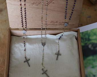 Handmade Gemstone Rosary Necklace, Heirloom Quality, Cross Pendant, Cross Rosary Necklace