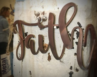 Faith Metal Wall Sign 16, 20, or 24 inch long