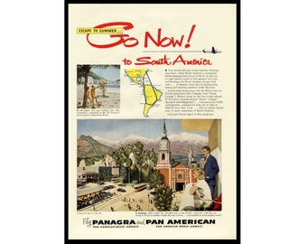 1950 Ad Panagra Pan American Airlines to South America Santiago