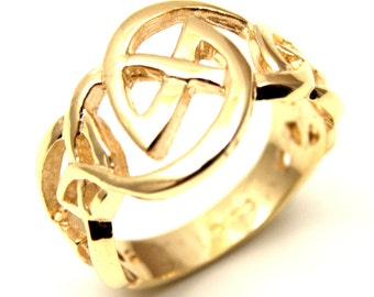 Trinity Knot 9ct Gold Celtic Ring Handmade in UK (CE17)