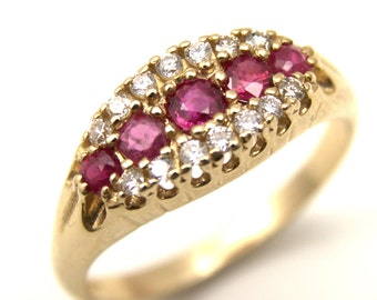 9ct Gold Large Round Brilliant Ruby and Diamond Cluster Dress Ring