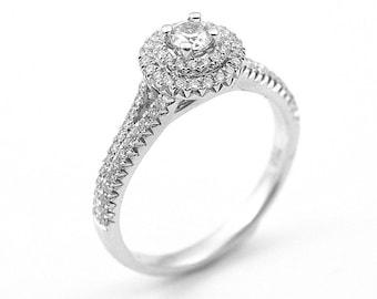 Diamond Engagement Ring Solitaire Double Halo Shoulder Set 18ct Gold