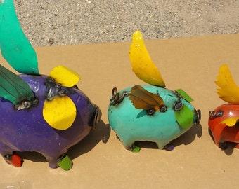 Colored Rustic Metal Flying Pigs