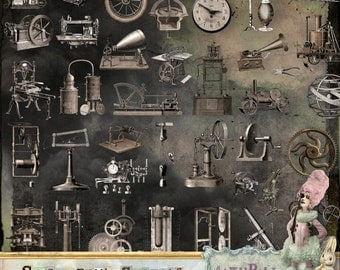 Steampunk Gadgets - 3 x Digital Collage Sheet ATC png - itKuPiLLi - Printable, Instant download