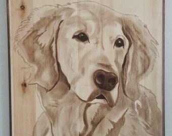 Custom Wood Stain Dog Portrait