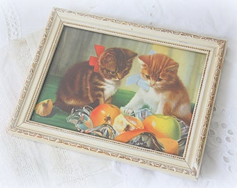 Vintage Kittens Print Under Glass, Wooden Frame