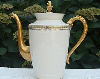 Antique Limoges Porcelain Coffeepot/Teapot , Gilded Ornate Handle and Sprout, France