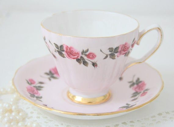 Vintage Colclough Bone China Cup and Saucer in Pink with Rose Pattern, Made in England