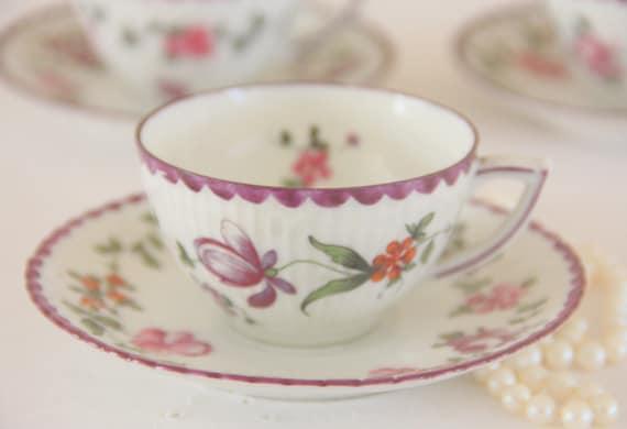 Set of Three Elegant Vintage Bone China Demitasse Cup and Saucer, Purple Flower Decor, Handpainted, The Hague, Holland