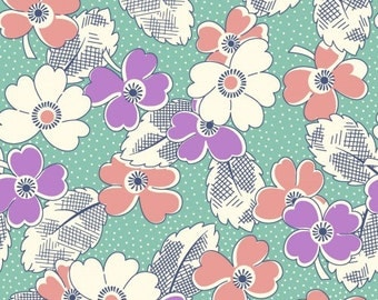 Feedsack Floral Print Turquoise Lavender Coral Green - Reproduction 1930s - by the Half Yard