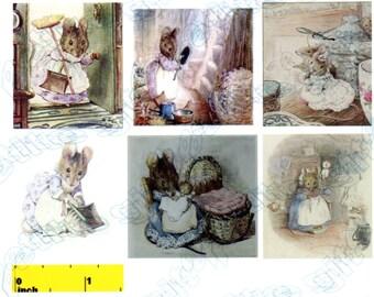 Miniature Beatrix Potter Hunca Munca Picture  Prints - Dollhouse 1:12 scale