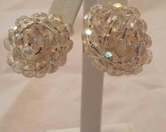 Mid Century Iridescent Clip on Beaded Cluster Earrings Signed West Germany