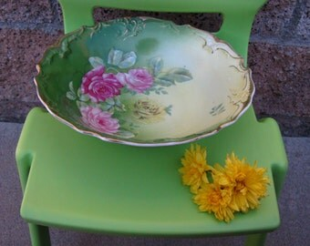Reduced! Antique Handpainted Gold Embossed Floral Bowl~~Victorian~~1900s