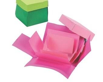 New EXPLODING BOX Stencil TEMPLATES 11 box & lid shapes Square Triangle Octagon Rectangle Hexagon Pyramid plastic mini photo scrapbook