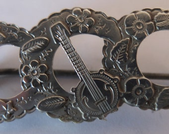 Victorian Silver Banjo and Floral Pattern Brooch - Birmingham Silver Marks 1890 - 38mm long - FREE UK POSTAGE.