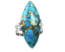 Sz 8, Genuine COPPER Blue ARIZONA TURQUOISE Large Gemstone, 925 Solid Sterling Silver Amazing Blue-Golden Ring S.8 Jewellery!!