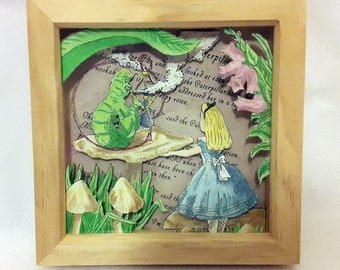 "Alice's Adventures in Wonderland ""Alice and The Caterpillar"" Hand-Drawn Watercolour 3D Box Frame"