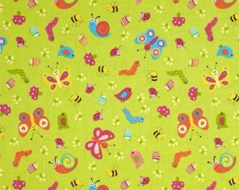 Green bug fabric fat quarter quilting sewing butterfly whoo loves ypu collection