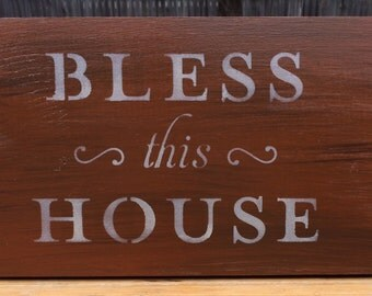 Rustic Wood Sign - Rustic Wooden Sign - Bless THis House Sign - Wood Sign for Home - Rustic Home Decor - Hanging Sign - Wall Hanging Decor