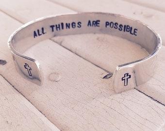 """Secret Message Cuff bracelet - 1/2"""" width"""