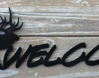 NEW Wildlife Elk Metal Welcome Door Sign by Mark Mansanarez