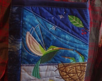 Hummingbird Quilted handbag/embroidered scenery