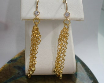 Chain Dangle Earrings with Gold Plated Ear Wires and CZ