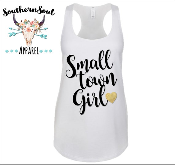 Small Town Girl GLITTER Heart Basic Racerback Tank Top, Country Shirt, Country Tank Top, Southern Tank, Concert Tank Top, Country Concert