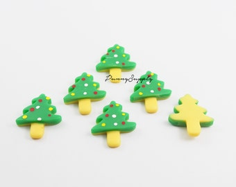 Free Shipping 10 Pcs - Christmas Tree Holiday Winter Decoden  Resin Cabochon Cab Flat back for Craft Making - MAS.37