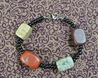earthy multi colored bracelet with mixed stones