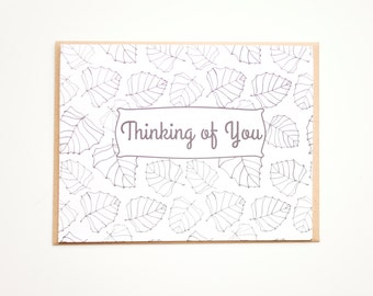 Thinking of You Card, Adult Coloring Card, Hand drawn botanical card, Blank card, Leaf Card, Leaf pattern, DIY Card