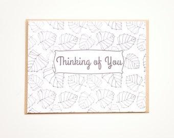 Thinking of You Card, Adult Coloring Card, Hand drawn botanical card, Blank card, Leaf Card, Leaf pattern, DIY Card