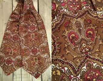 Vintage 60s Duggie Cravat Tile Print Brown Orange Dapper Ascot