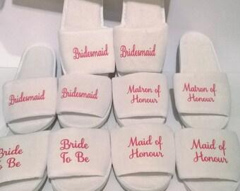 Personalised Wedding slippers, bridal party slippers, wedding slippers, kids slippers, bridal slippers, spa hen weekend, bridesmaid slippers