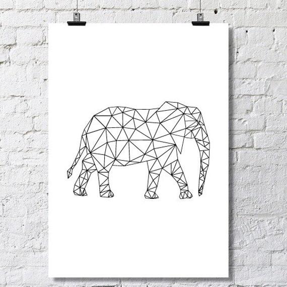 Items Similar To Elephant Geometric Poster On Etsy